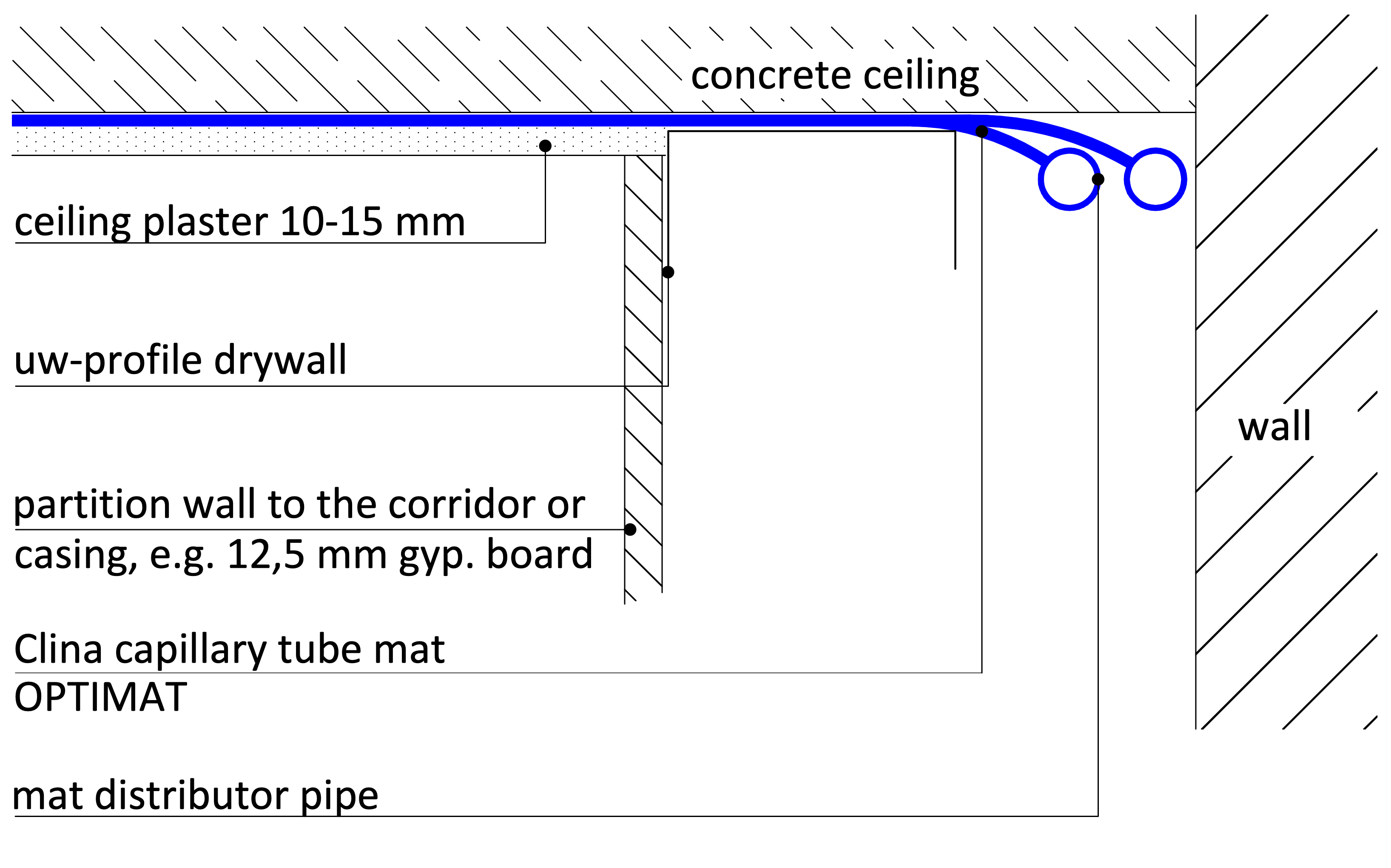 plaster on bare concrete-ceiling with casing